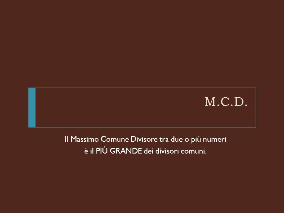 M.C.D. Il Massimo Comune Divisore tra due o più numeri