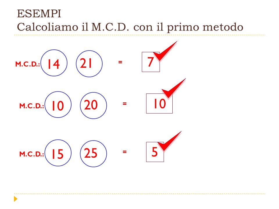 ESEMPI Calcoliamo il M.C.D. con il primo metodo