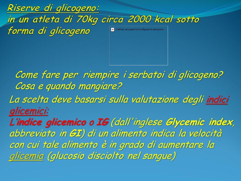 Riserve di glicogeno: in un atleta di 70kg circa 2000 kcal sotto forma di glicogeno