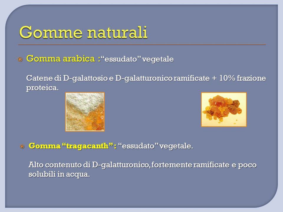 Gomme naturali Gomma arabica : essudato vegetale