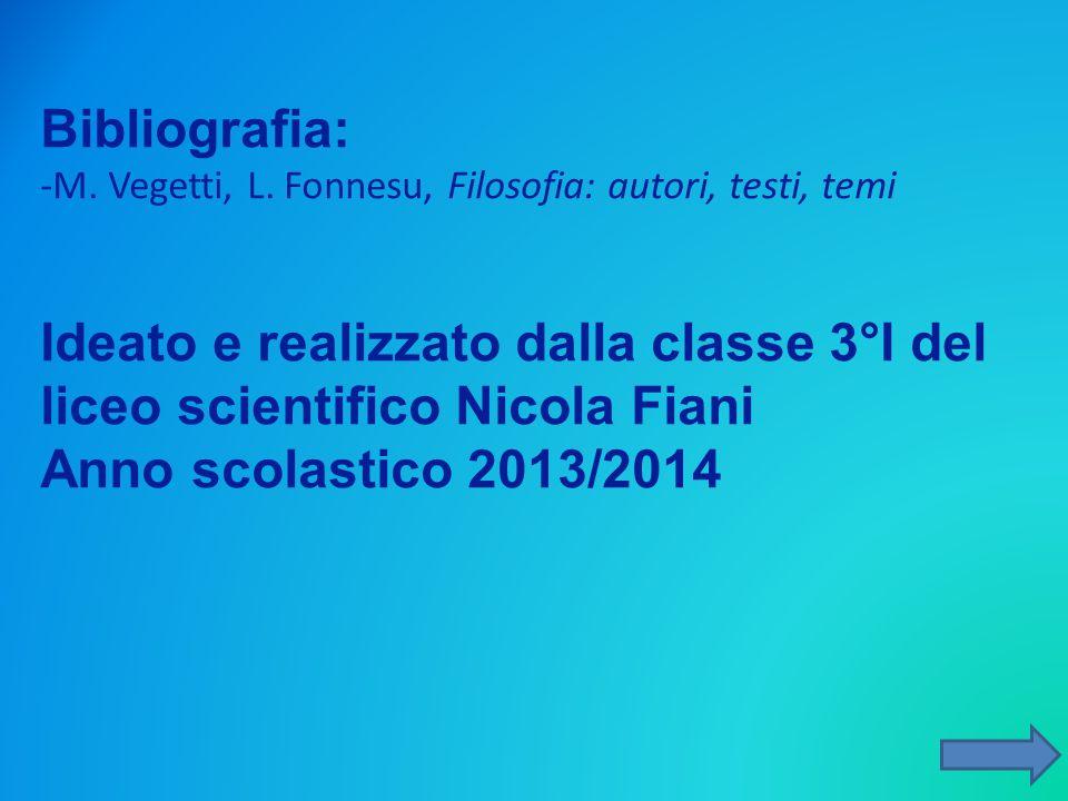 Bibliografia: -M. Vegetti, L. Fonnesu, Filosofia: autori, testi, temi. Ideato e realizzato dalla classe 3°I del liceo scientifico Nicola Fiani.