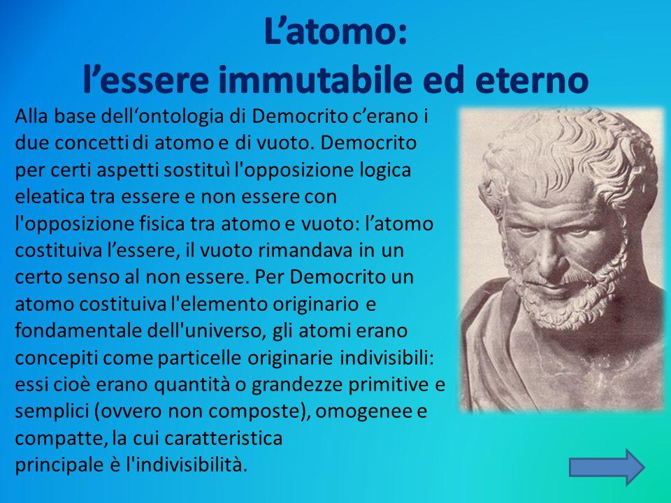 L'atomo: l'essere immutabile ed eterno