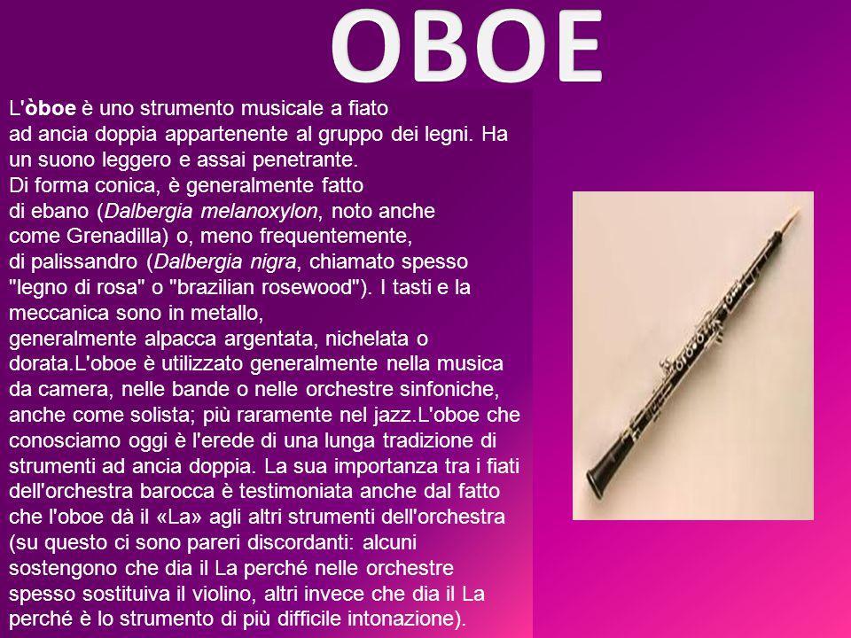 OBOE L òboe è uno strumento musicale a fiato ad ancia doppia appartenente al gruppo dei legni. Ha un suono leggero e assai penetrante.