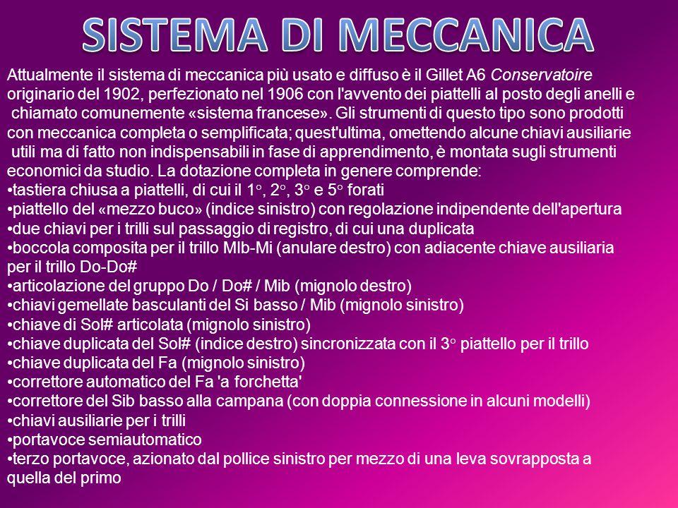 SISTEMA DI MECCANICA Attualmente il sistema di meccanica più usato e diffuso è il Gillet A6 Conservatoire