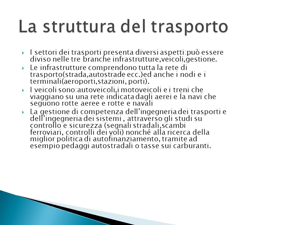 La struttura del trasporto