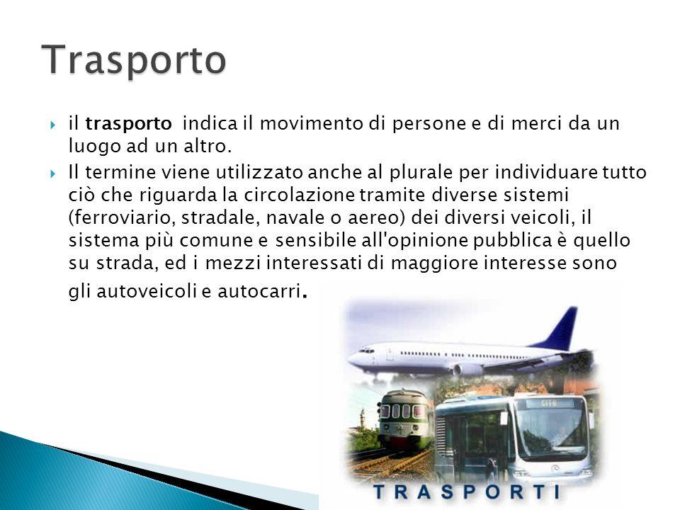 Trasporto il trasporto indica il movimento di persone e di merci da un luogo ad un altro.