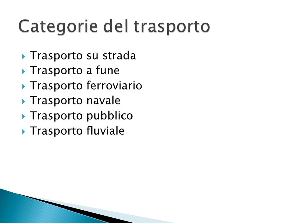 Categorie del trasporto
