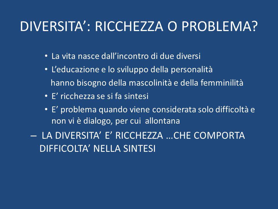 DIVERSITA': RICCHEZZA O PROBLEMA