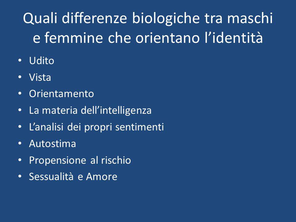 Quali differenze biologiche tra maschi e femmine che orientano l'identità
