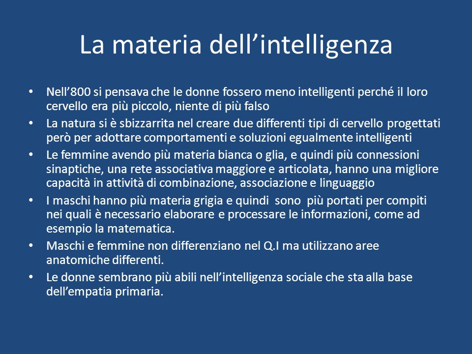 La materia dell'intelligenza