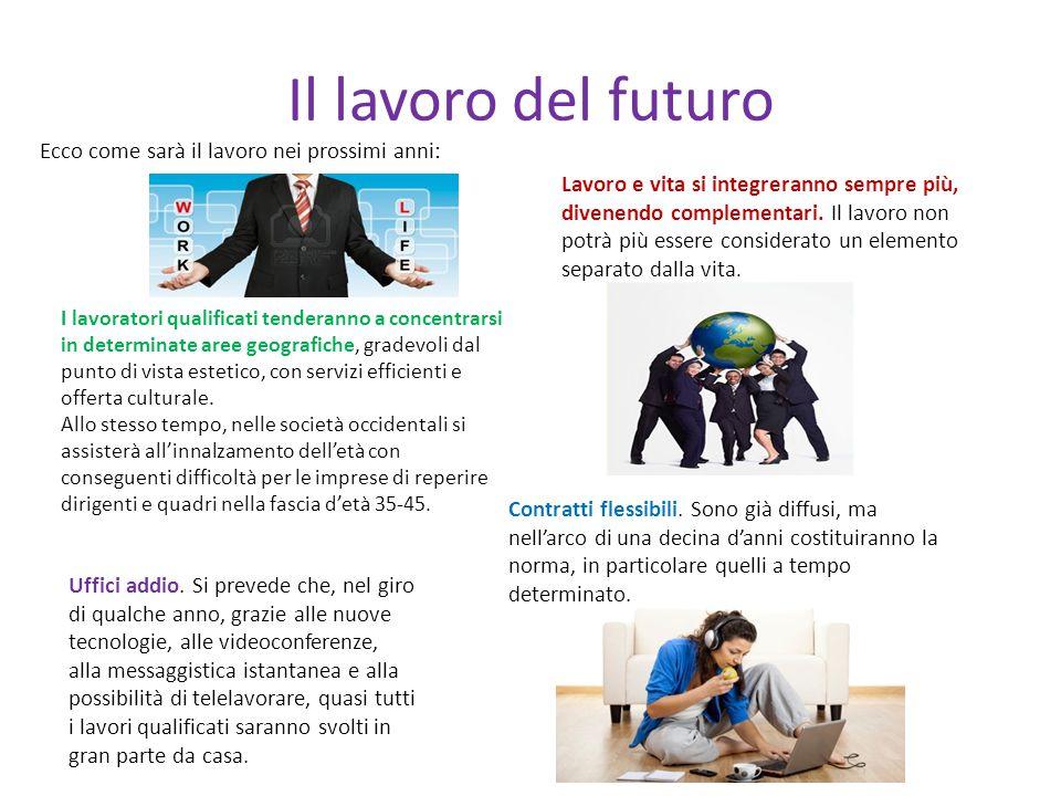 Il lavoro del futuro Ecco come sarà il lavoro nei prossimi anni: