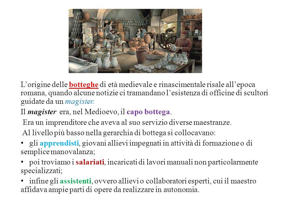 L'origine delle botteghe di età medievale e rinascimentale risale all'epoca romana, quando alcune notizie ci tramandano l'esistenza di officine di scultori guidate da un magister.