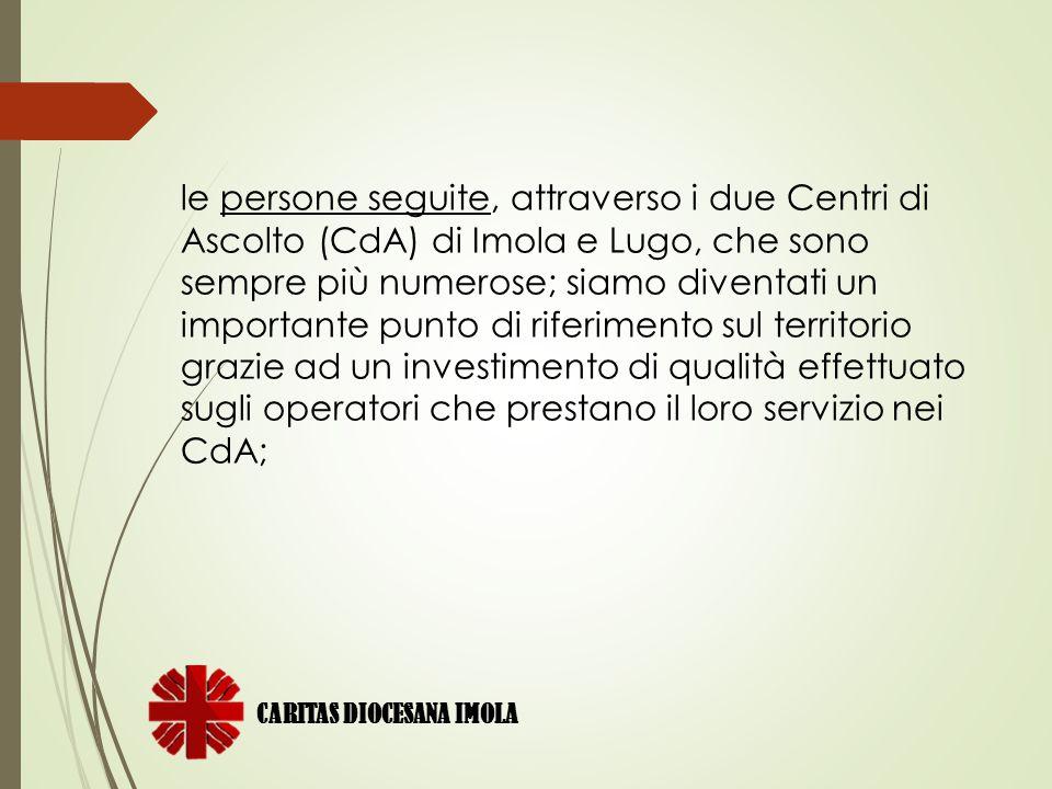 le persone seguite, attraverso i due Centri di Ascolto (CdA) di Imola e Lugo, che sono sempre più numerose; siamo diventati un importante punto di riferimento sul territorio grazie ad un investimento di qualità effettuato sugli operatori che prestano il loro servizio nei CdA;