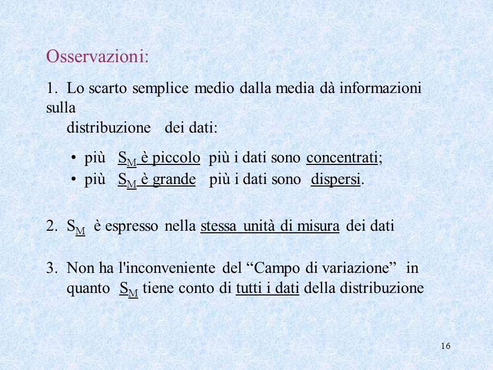 Osservazioni: 1. Lo scarto semplice medio dalla media dà informazioni sulla distribuzione dei dati: