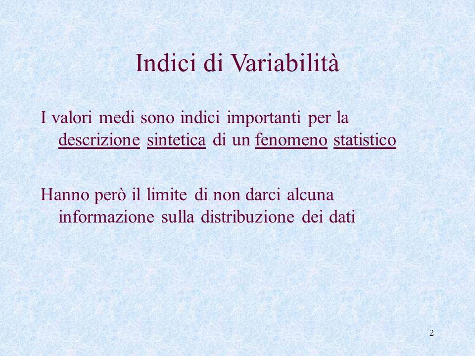 Indici di Variabilità I valori medi sono indici importanti per la descrizione sintetica di un fenomeno statistico.