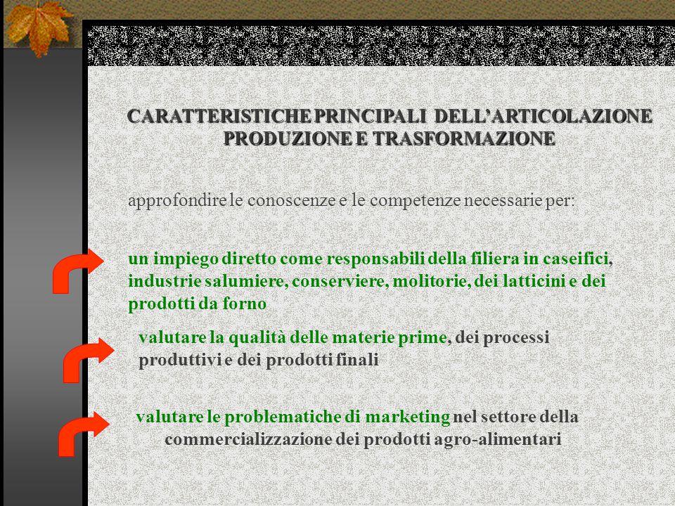 CARATTERISTICHE PRINCIPALI DELL'ARTICOLAZIONE PRODUZIONE E TRASFORMAZIONE