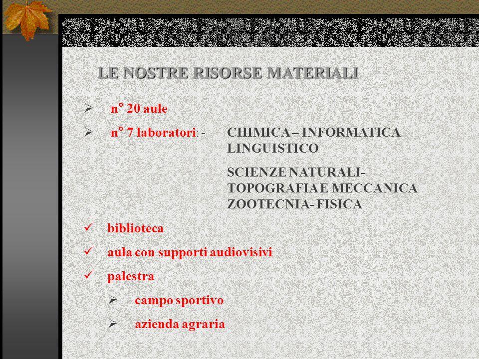 n° 7 laboratori: - CHIMICA – INFORMATICA LINGUISTICO