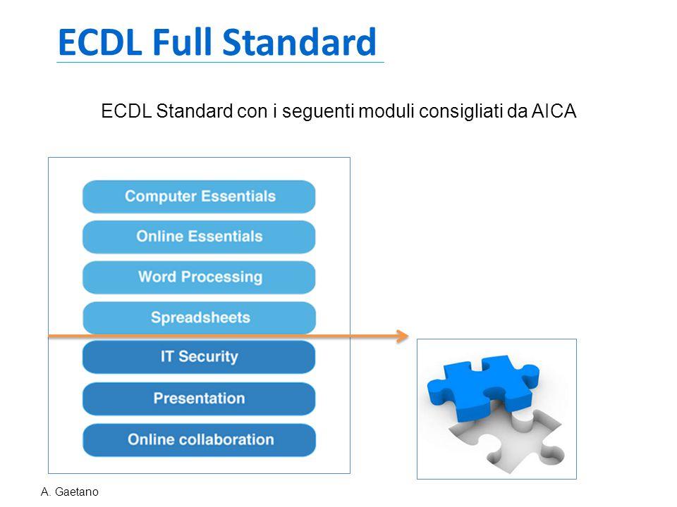 ECDL Standard con i seguenti moduli consigliati da AICA