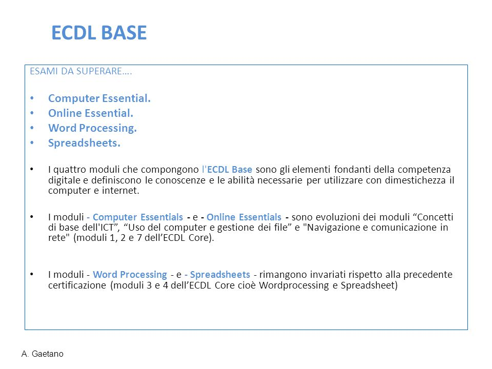 ECDL BASE Computer Essential. Online Essential. Word Processing.