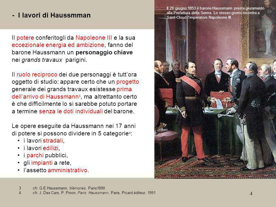 Il 29 giugno 1853 il barone Haussmann presta giuramento alla Prefettura della Senna. Lo stesso giorno incontra a Saint-Cloud l'imperatore Napoleone III