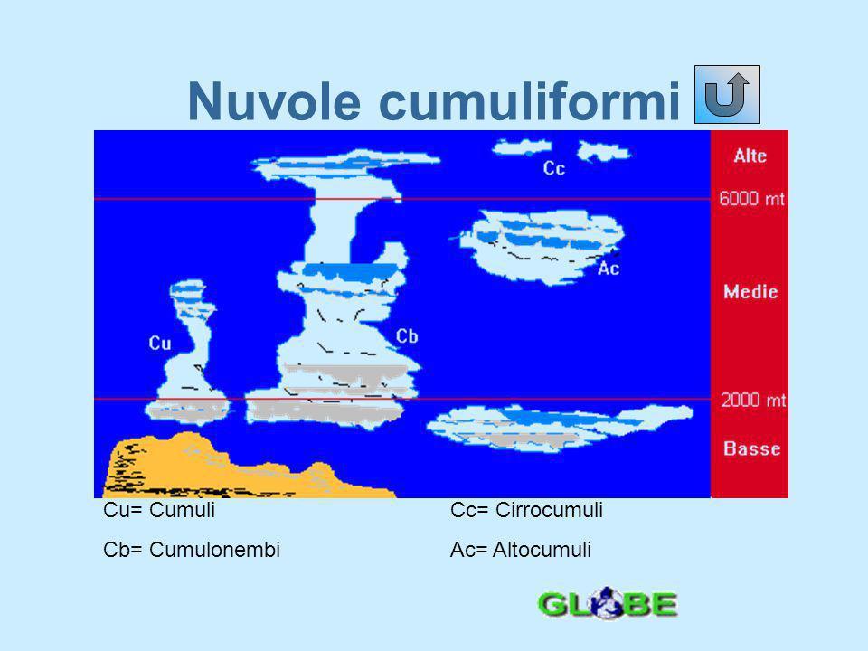 Nuvole cumuliformi Cu= Cumuli Cc= Cirrocumuli