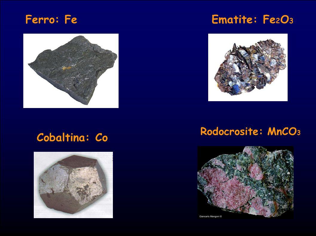 Ferro: Fe Ematite: Fe2O3 Rodocrosite: MnCO3 Cobaltina: Co