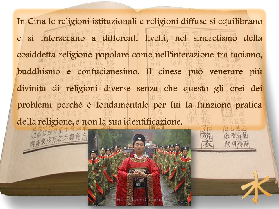 In Cina le religioni istituzionali e religioni diffuse si equilibrano e si intersecano a differenti livelli, nel sincretismo della cosiddetta religione popolare come nell interazione tra taoismo, buddhismo e confucianesimo. Il cinese può venerare più divinità di religioni diverse senza che questo gli crei dei problemi perché è fondamentale per lui la funzione pratica della religione, e non la sua identificazione.