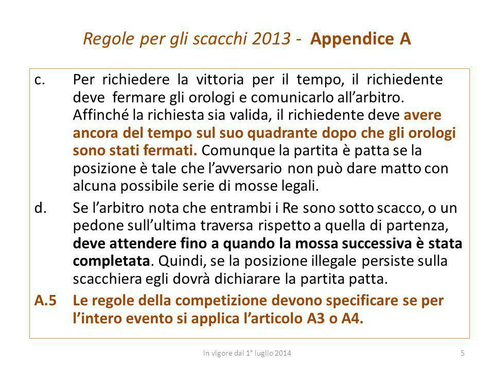 Regole per gli scacchi 2013 - Appendice A