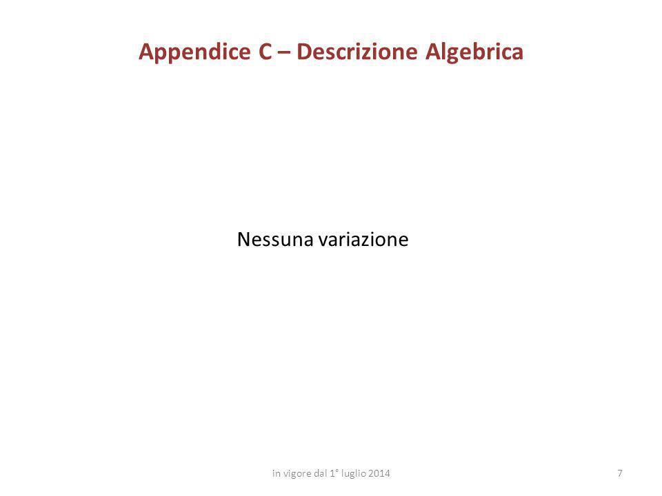 Appendice C – Descrizione Algebrica
