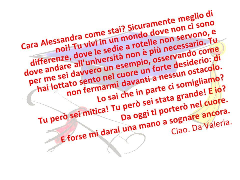 Cara Alessandra come stai. Sicuramente meglio di noi