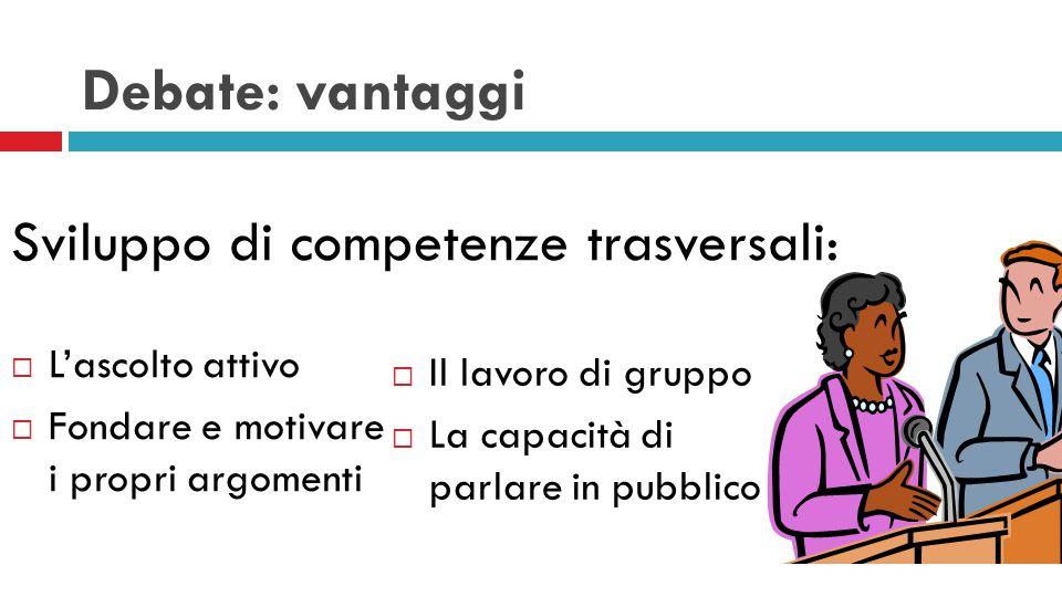 Debate: vantaggi Sviluppo di competenze trasversali: L'ascolto attivo