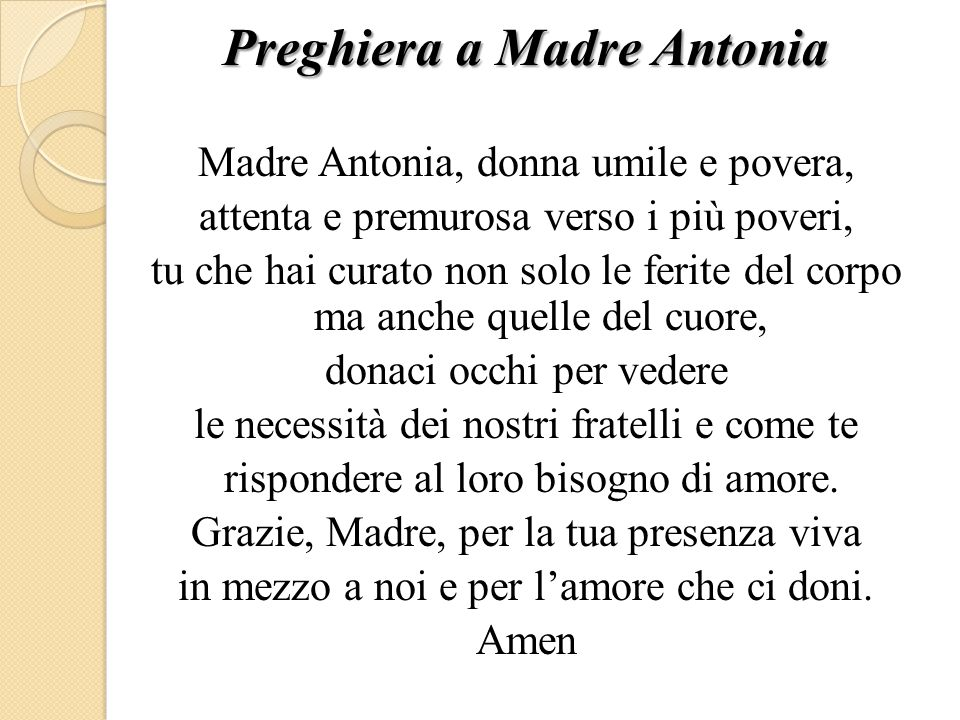 Preghiera a Madre Antonia