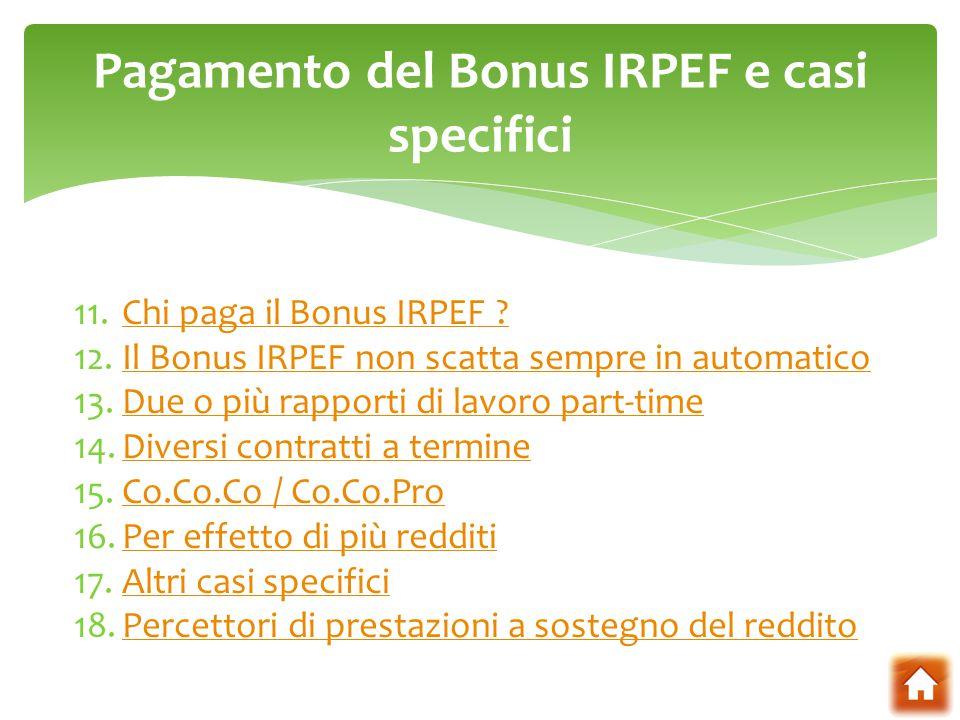 Pagamento del Bonus IRPEF e casi specifici