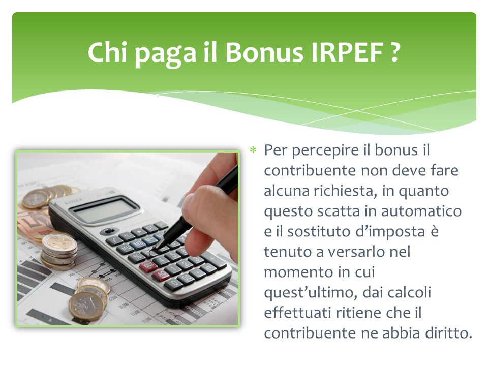 Chi paga il Bonus IRPEF