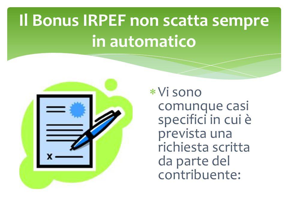 Il Bonus IRPEF non scatta sempre in automatico