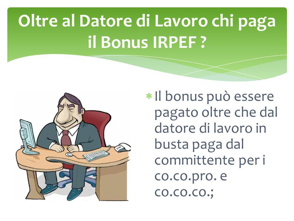Oltre al Datore di Lavoro chi paga il Bonus IRPEF