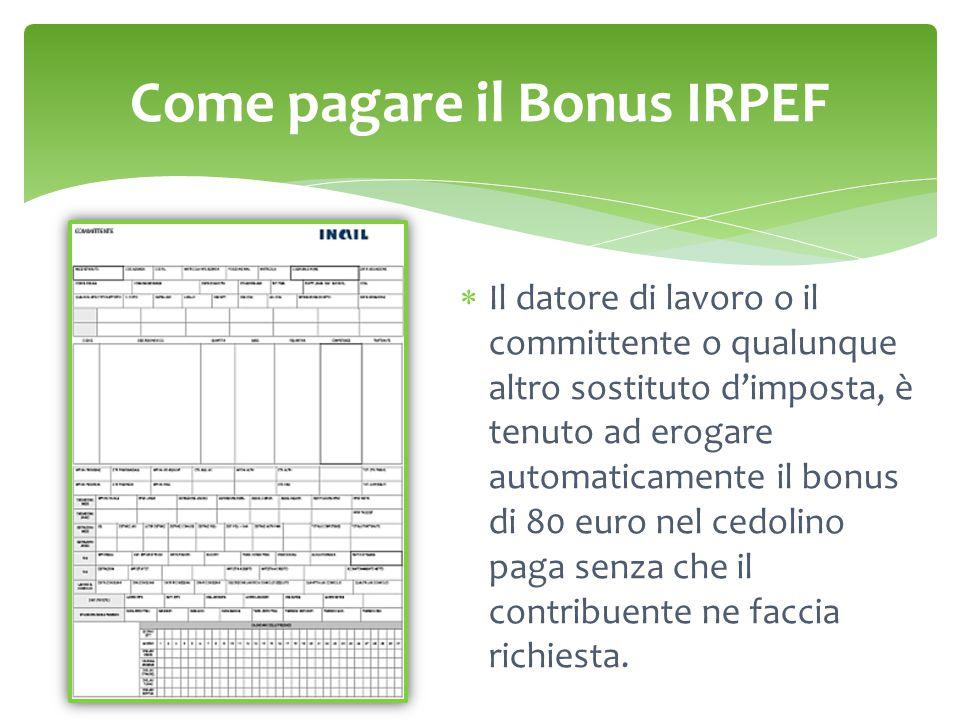 Come pagare il Bonus IRPEF