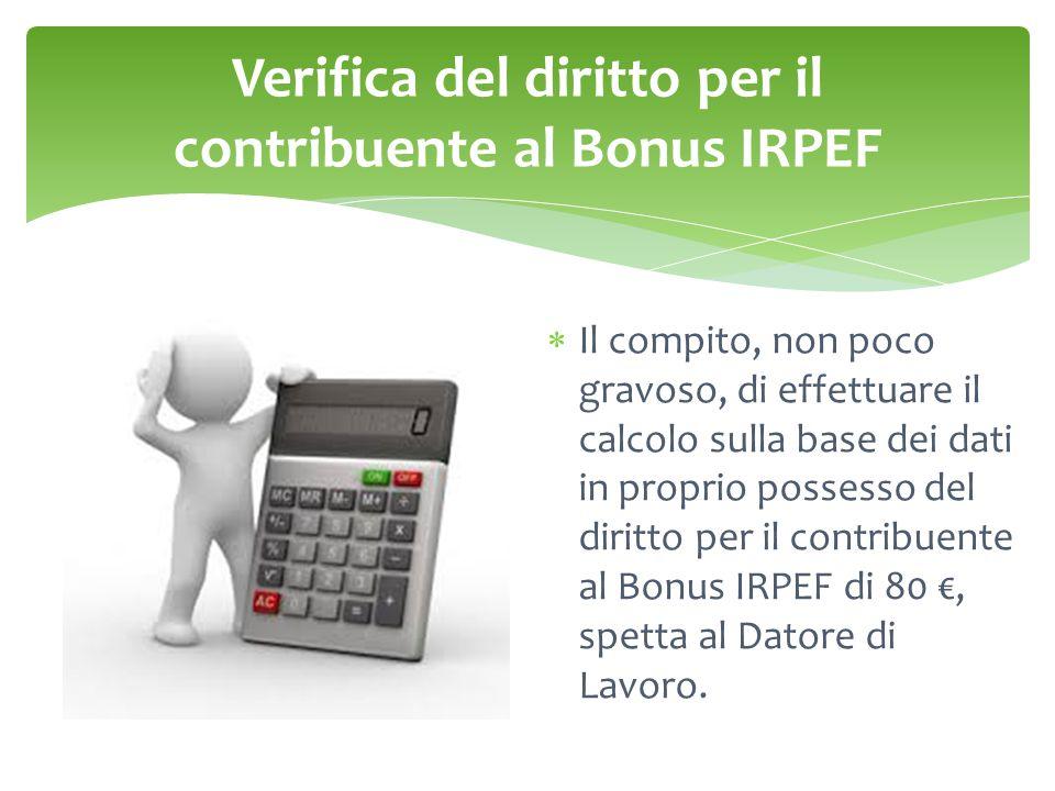 Verifica del diritto per il contribuente al Bonus IRPEF