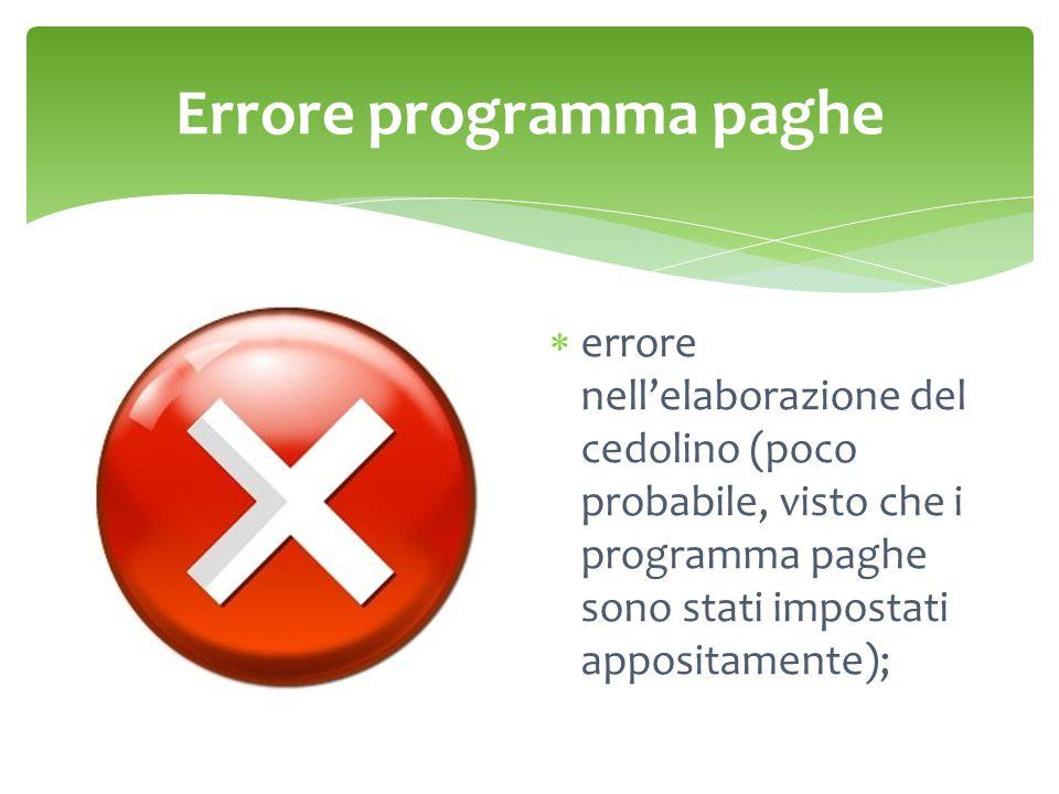 Errore programma paghe
