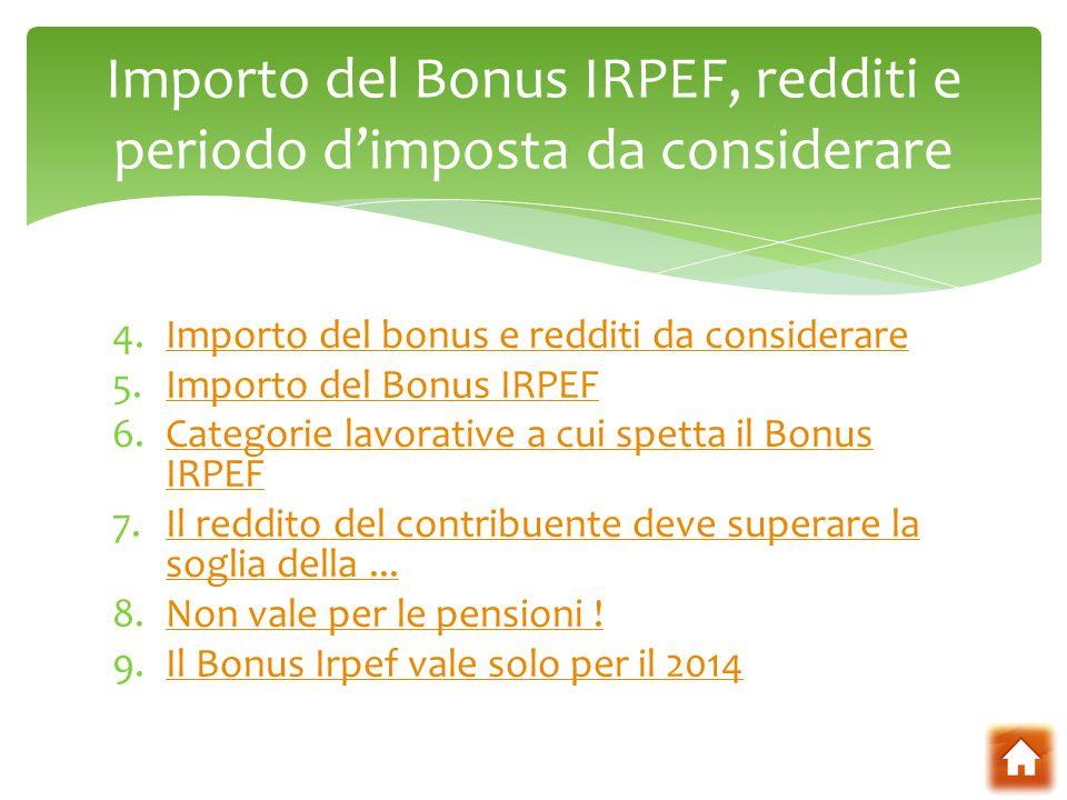Importo del Bonus IRPEF, redditi e periodo d'imposta da considerare