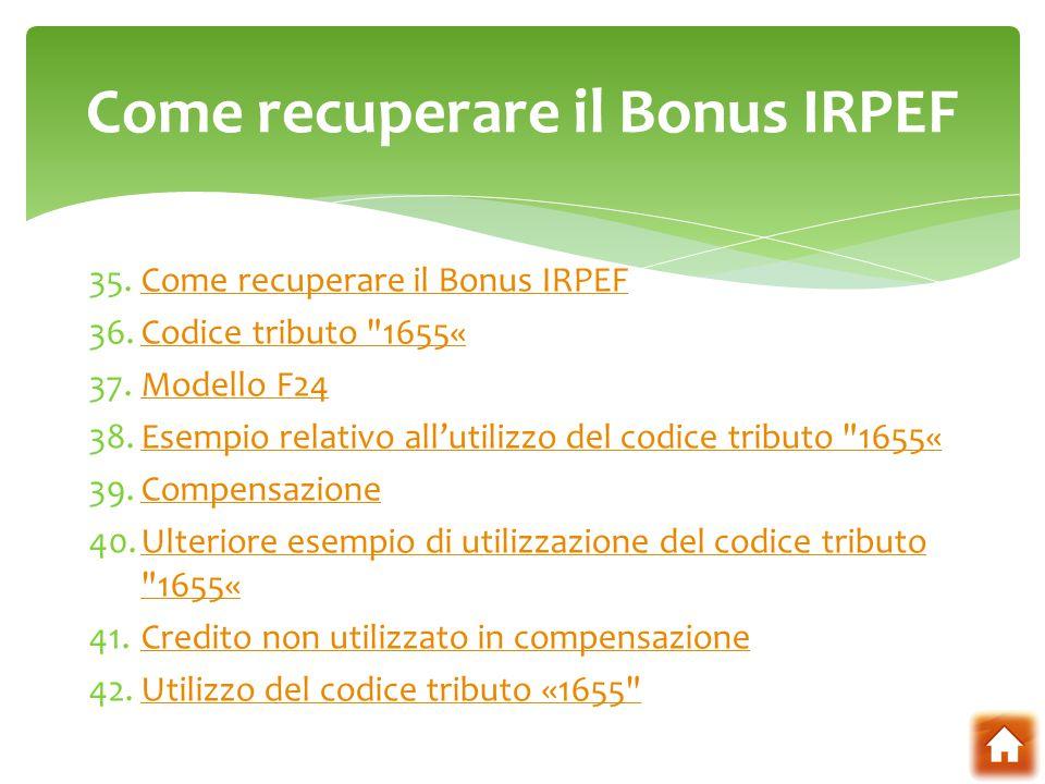 Come recuperare il Bonus IRPEF