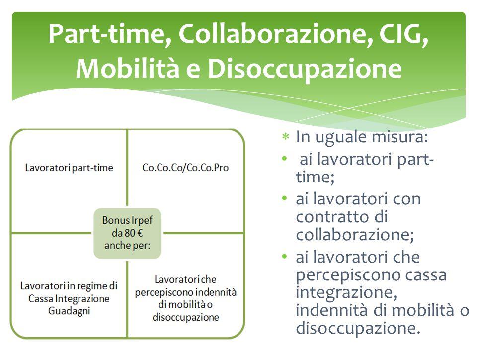Part-time, Collaborazione, CIG, Mobilità e Disoccupazione