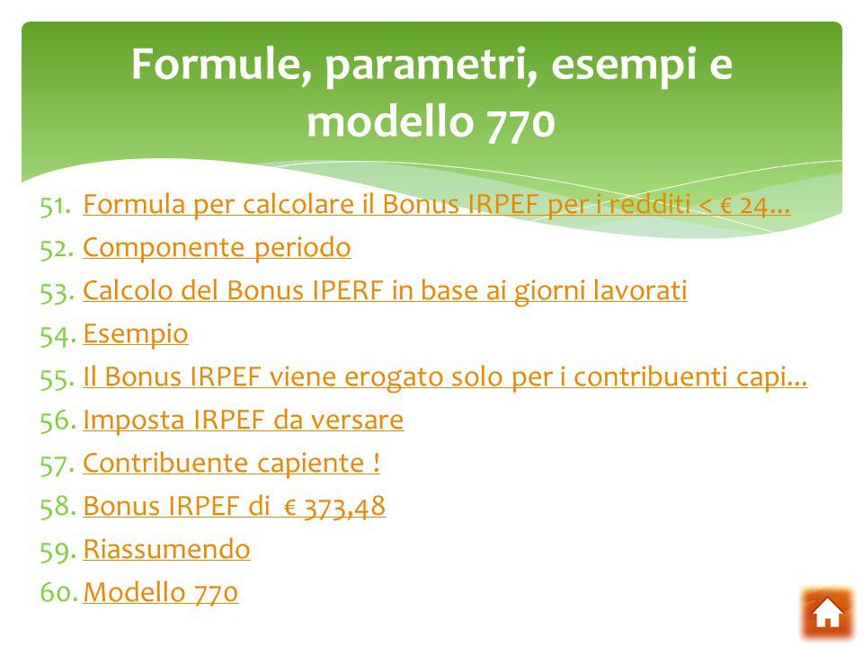 Formule, parametri, esempi e modello 770