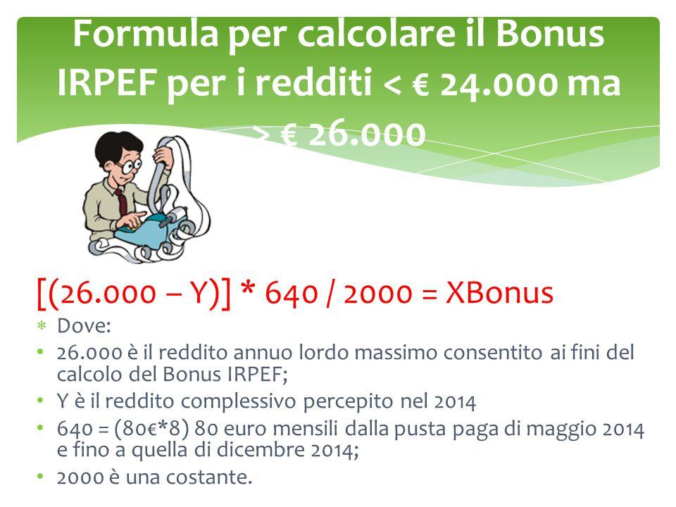 Formula per calcolare il Bonus IRPEF per i redditi < € 24
