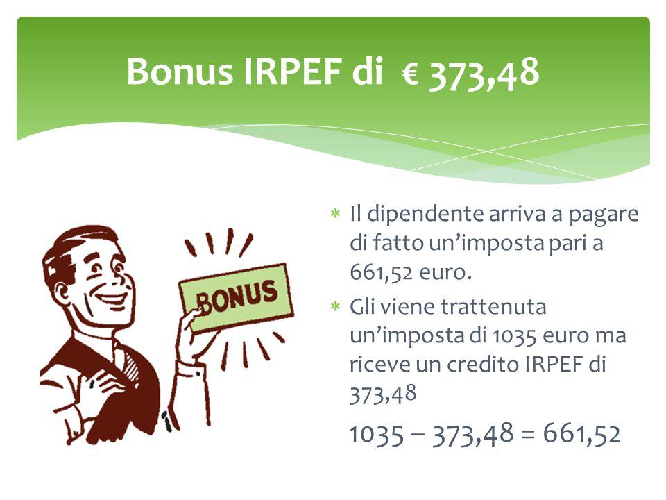Bonus IRPEF di € 373,48 Il dipendente arriva a pagare di fatto un'imposta pari a 661,52 euro.
