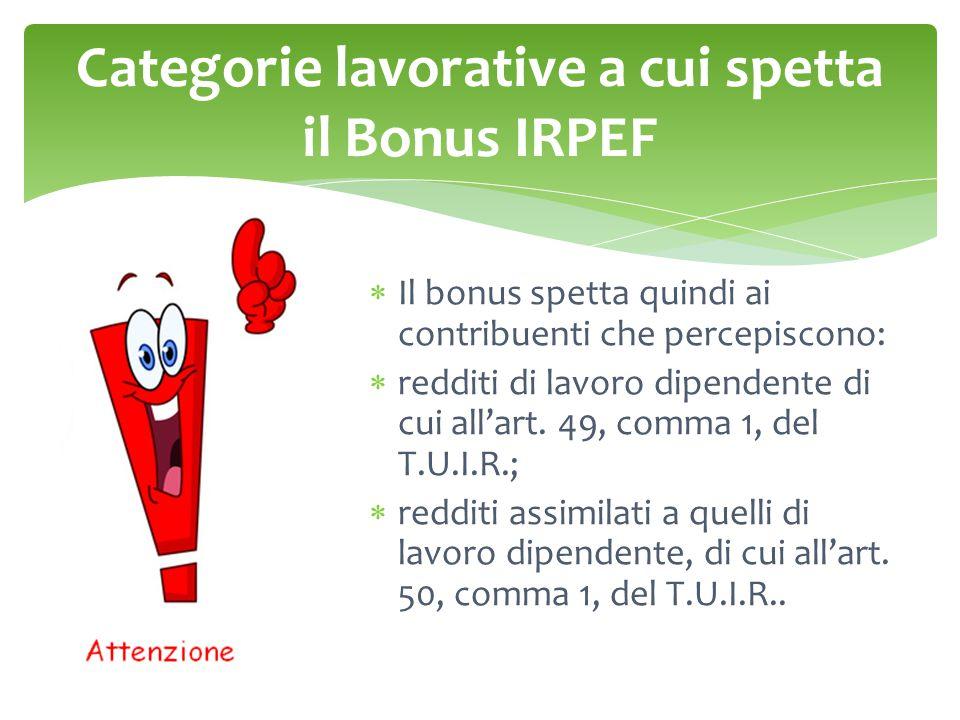 Categorie lavorative a cui spetta il Bonus IRPEF