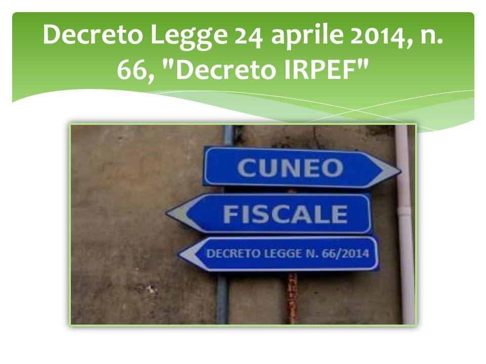 Decreto Legge 24 aprile 2014, n. 66, Decreto IRPEF