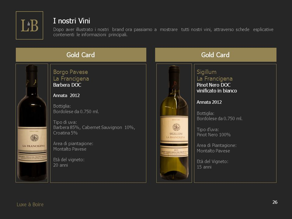 I nostri Vini Gold Card Gold Card Borgo Pavese La Francigena Sigillum
