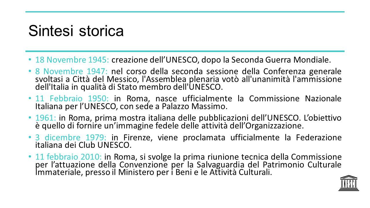 Sintesi storica 18 Novembre 1945: creazione dell'UNESCO, dopo la Seconda Guerra Mondiale.
