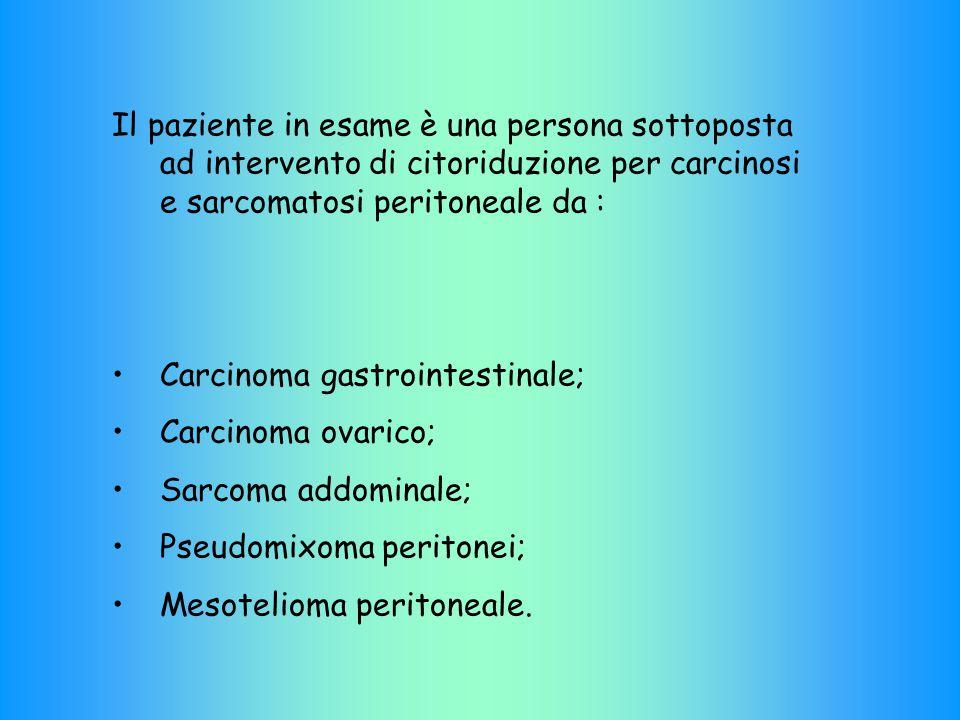 Il paziente in esame è una persona sottoposta ad intervento di citoriduzione per carcinosi e sarcomatosi peritoneale da :